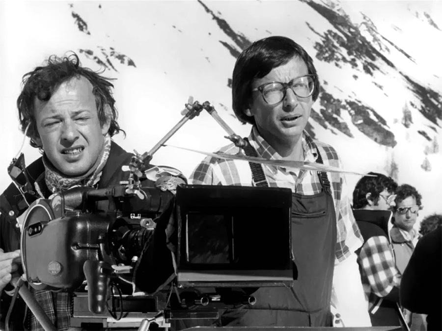 Jean-François Robin (chef opérateur) et Patrice Leconte sur le tournage des Bronzés font du ski (1979) - DR