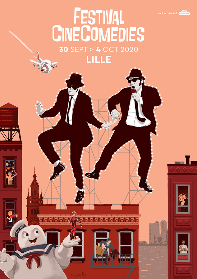 3ème édition du Festival CineComedies à Lille du 30 septembre au 4 octobre 2020 - © Illustration : David Merveille