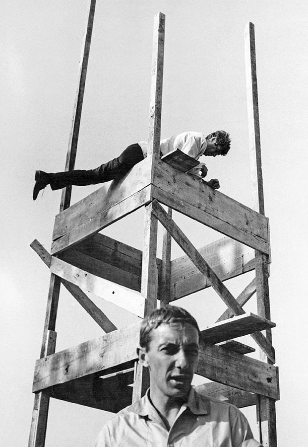 Philippe de Broca et Jean-Paul Belmondo sur le tournage de L'Homme de Rio © DR