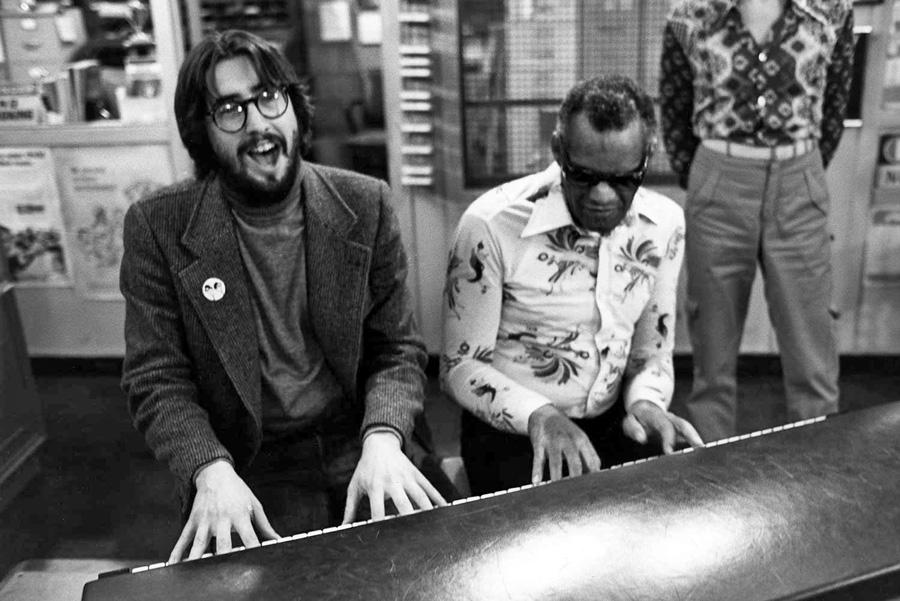 John Landis et Ray Charles sur le tournage de The Blues Brothers (1980) - DR