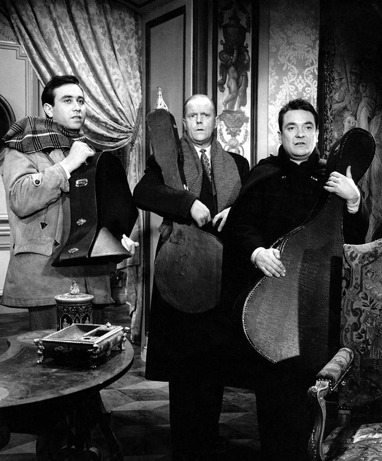 Philippe Clair, Charles Bouillaud et Jean Carmet dans Babette s'en va-t-en guerre (Christian Jaque, 1959) - © Collection personnelle Philippe Clair