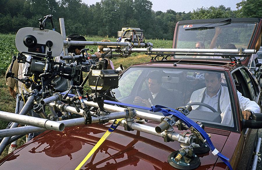Christian Clavier et Jean Reno sur le tournage de L'Opération Corned Beef (Jean-Marie Poiré, 1991) - © Gaumont