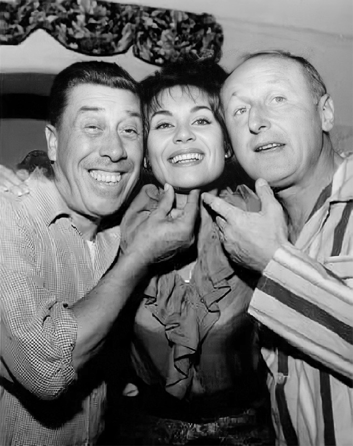 Fernandel, Claire Maurier et Bourvil sur le tournage de La Cuisine au beurre (Gilles Grangier, 1963) - DR